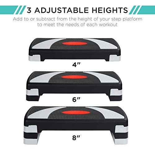 Best Choice Products 30in Aerobic Step Platform Adjustable Exercise Stepper Home Gym Fitness Accessory for Full Body Workout w/ 6 Risers, 550lb Weight Capacity