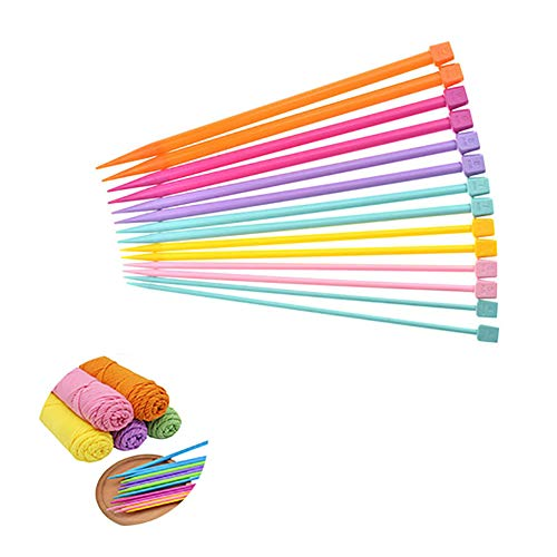 LissomPlume 14pcs Ergonomic Knitting Needles Set Plastic Single Point Needles