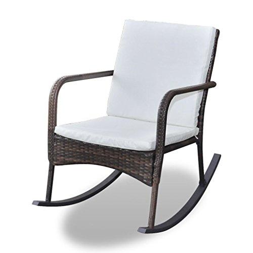VidaXL schommelstoel poly rotan bruin relaxstoel tuinmeubelen schommelstoel