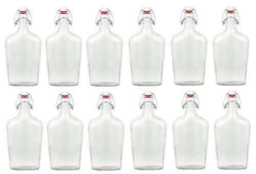Bormioli - Set di 12 bottiglie di vetro Fiaschetta con chiusura a leva, 0,5 l