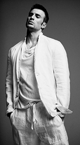 Chris Evans in White Suit Black and White Modeling Mid Photo (8 inch by 10 inch) PHOTOGRAPH TL