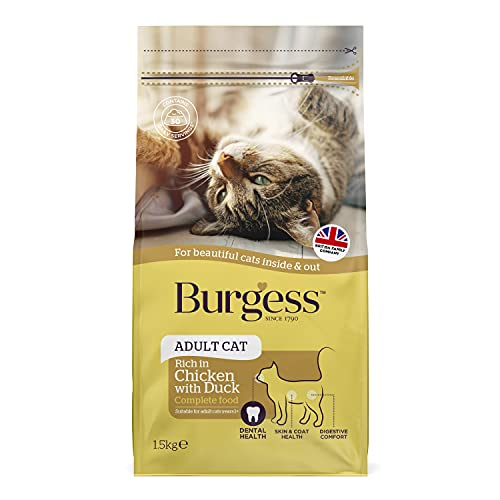 Burgess Dry Cat Food for Adult Cats Chicken with Duck, 1.5 kg