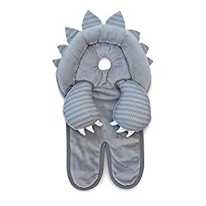 Boppy Preferred Head and Neck Support, Gray Dinosaur, Minky Fabric, Head Support for Infants