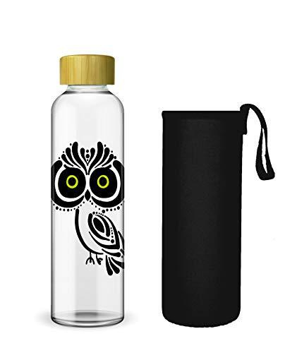 Wenburg Trinkflasche/Glasflasche mit Print und Bambus Deckel 550/750/1000 ml, Neopren Hülle. Sportflasche/Wasserflasche aus Glas. Für Unterwegs. Für Tee, Wasser, Smoothie (750 ml, Eule)