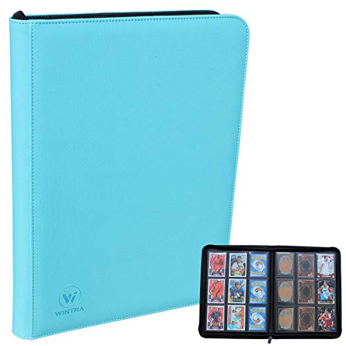 WINTRA Premium Zip Card Binder, 9 Pocket Trading Card Collectors Album, Side Loading 360 Pockets Binder for Trading Cards and Sports Cards (Blue-Green)
