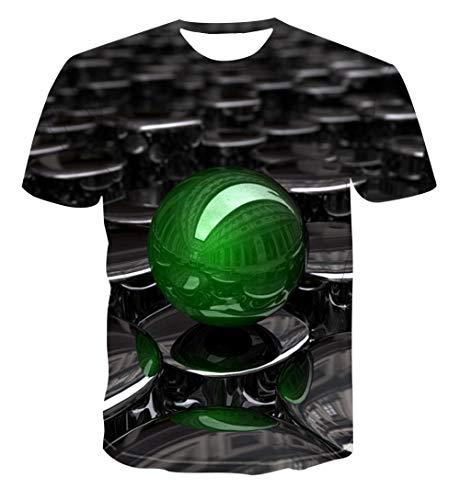 Zomer Mannen T-Shirt 3D Print Slank Korte Casual Sleeve Tops O-hals Pullover Blouse Tee Donkergroene Kralen Hawaiian Beach T-Shirts