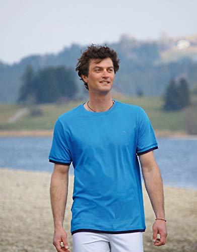 Camiseta básica para hombre, color azul S Unisex