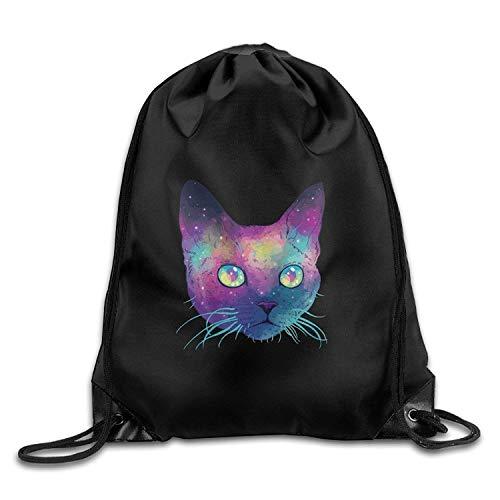 Harla Unisex Amazing Galaxy Cat Sports Drawstring Backpack Bag Fashion