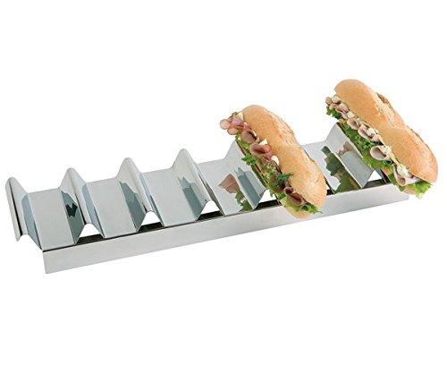 PROFI Snackpresenter aus Edelstahl mit 7 Mulden, hochglanzpoliert, für 7 Baguettes, mit Griffmulde, stapelbar / 47,5 x 10,5 x 6 cm | SUN