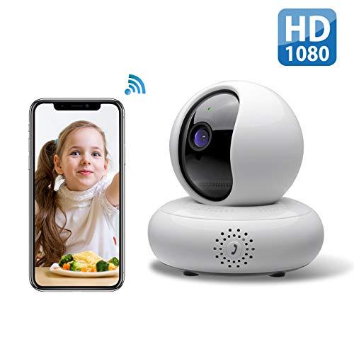 WLAN IP Kamera, Überwachungskamera WiFi 1080P, Haustier Kamera, Home und Baby Monitor mit Bewegungserkennung