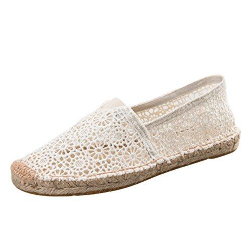 Dooxii Donna Moda Pizzo Espadrillas Basse Scarpe Slip On Flats Durevole Casuale Loafers Scarpe Beige 39(24.5cm)