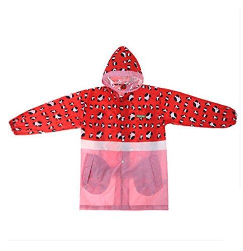 Korean Lovely bébé imperméable Mode enfants pluie Rouge imprimé léopard S