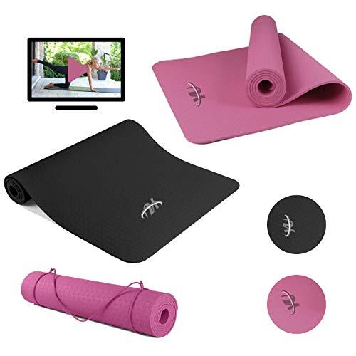 YU Fitness Tappetino Fitness per Yoga o Pilates - Yoga Mat Antiscivolo e Pieghevole Ideale per Fare Esercizi in Casa o all'Aperto 183cmx61cmx6mm (Nero)