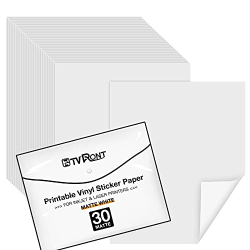 HTVRONT Bedruckbares Vinyl 30 Blätter Trocknet Schnell Matte 216x280mm für Tintenstrahldrucker und Laserdrucker