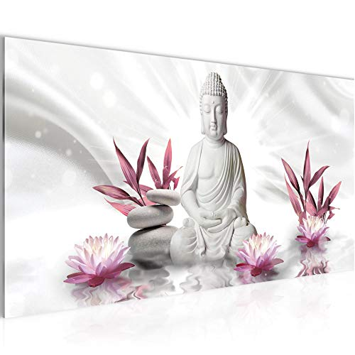 Wandbilder Buddha Feng Shui Modern Vlies Leinwand Wohnzimmer Flur Wellness Zen Grau Rosa 011612a
