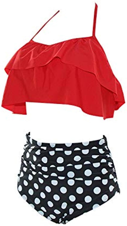 Halter Tropical Floral Off Shoulder Ruffled Biquini Bathing Suit High Waist Swimsuit Large Plus Size Swimwear Women Bikini color Red Small Dot Size XXL