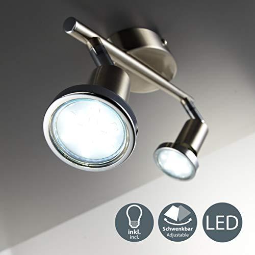 Lámpara de techo con focos giratoria incl. 2 x 3W bombillas LED GU10 I Aplique de salón I luz blanco cálido 3000K I IP20 I 250lm I níqul mate I 2 Focos