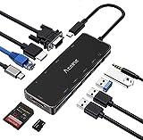 HUB USB C, Aceele 11-in-1 Adattatore USB-C con 4k HDMI e 1080P VGA, 4 Porte USB...
