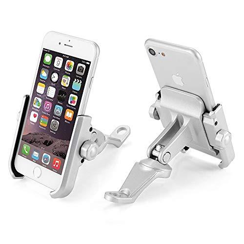 KASER Soporte Smartphone Universal Moto Espejo Retrovisor Rotación de Aluminio para Motociclo Ciclomotor Scooter para Móvil Navegador GPS (Espejo DE Plata)