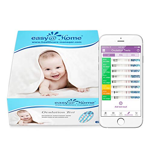 Easy@Home 50 x Ovulation Tests - Fertility Test Kit, Powered by Premom Ovulation Predictor iOS and Android App (50 LH)