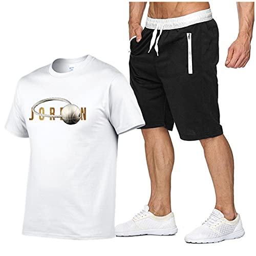 Jordan Lettere Stampa Sport T-shirt, Uomo Casual Tuta Manica Corta Running Jogging Sport T-shirt e Pantaloncini Tuta bianco-M