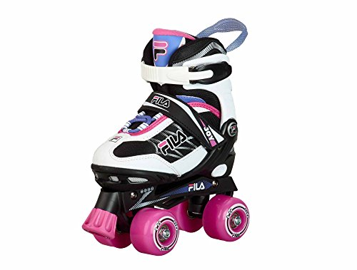 Fila Mädchen Roller-Skates Joy verstellbar Rollschuhe, Schwarz/Pink, L (39-42)