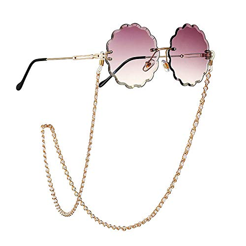 YIEBAI Brille Kette Schmuck Mode Einfache Perle Brille Kette Sonnenbrille Lanyard Hanging Neck Glasses Chain,001