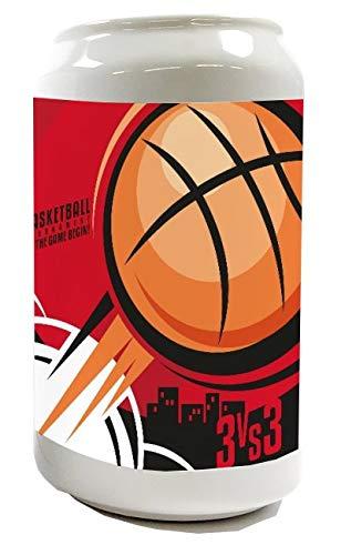 LEotiE SINCE 2004 Spardose Sparbüchse Geld-Dose Wiederverschließbar Farbe Weiß Sport Basketball Keramik Bedruckt