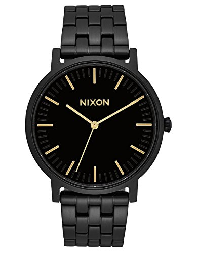 NIXON Porter A1057 - All Black/Gold - 50m Water Resistant Men's Analog Classic Watch (40mm Watch Face, 20-18mm Stainless Steel Band)