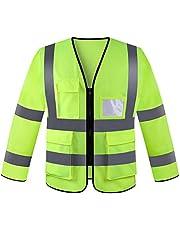 Panegy Heren Veiligheidsjack Hoge Zichtbaarheid Jack met Lange Mouwen Werkkleding Outerwear Jas