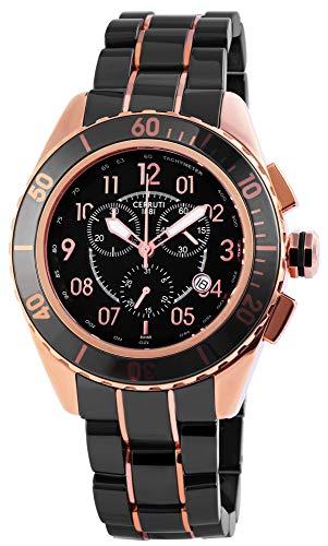 Cerruti Damen Analog Quarz Uhr mit Keramik Armband CRA079Z271H