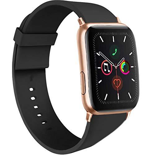 AK kompatibel mit Apple Watch Armband 42mm 38mm 44mm 40mm, Weiche Silikon Sport Ersatz Armband kompatibel iWatch Series 5, Series 4, Series 3, Series 2, Series 1 S/M M/L (#Schwarz, 38/40mm S/M)