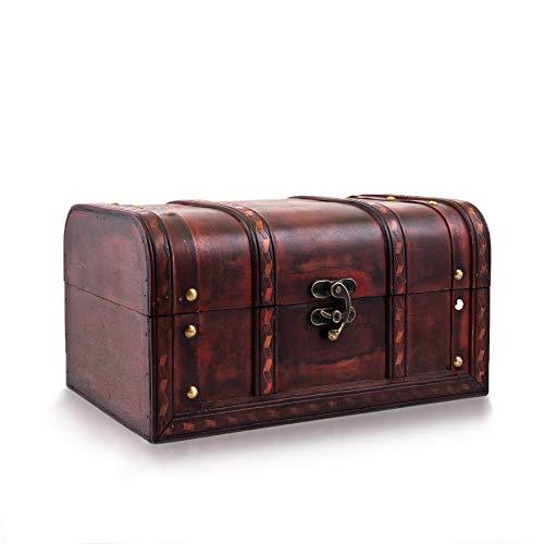 Schatztruhe - Kiste mit Schloss - Schatzkiste 28x19x15cm groß und extra stabil - Ideal als Geschenkebox für z.B. Hochzeit und Geburtstag - Holztruhe