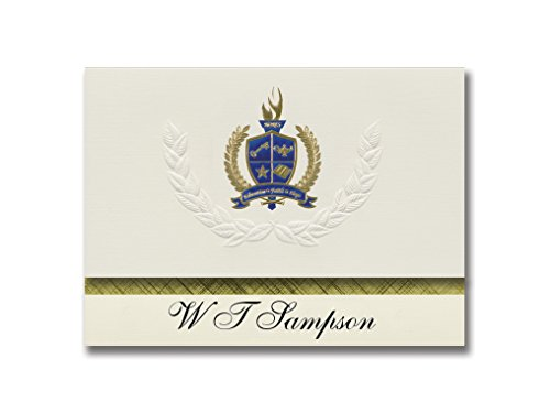 Signature Announcements W T Sampson (Fpo, AE) Graduation Ankündigung, Presidential Style, Elite Paket mit 25 Stück mit Gold & Blau Metallic Folien-Siegel