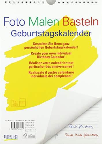 FMB Geburtstagskal. A4: Bastelkalender ohne Jahr. Fotokalender zum Selbstgestalten. Do-it-yourself Kalender mit festem Fotokarton.