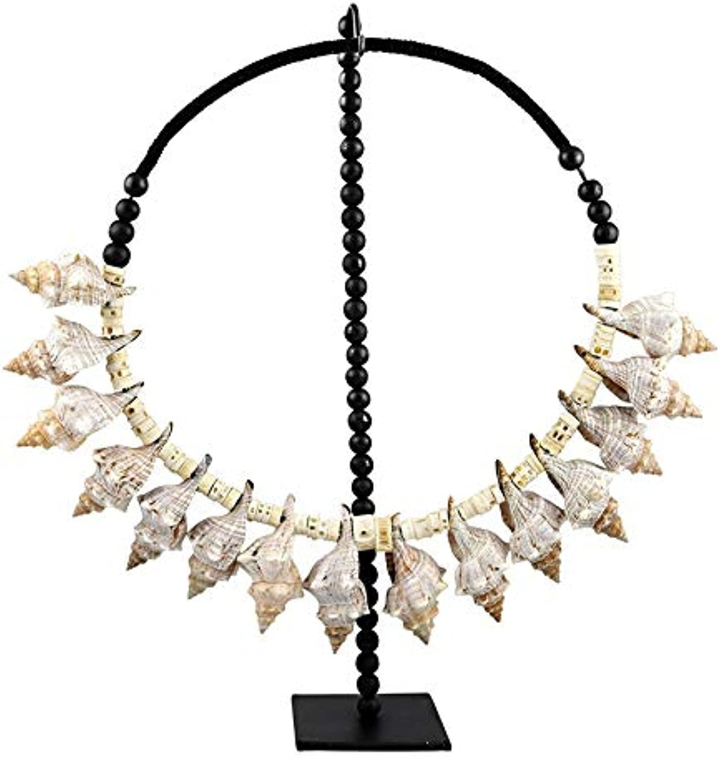 Large Necklace ON Stand Hand Craft Neck Piece Shell Beads Multi 65X55CM