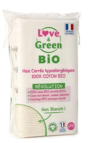 Love & Green - Algodón Maxi cuadrado, hipoalergénico, no blanqueado, 70 unidades