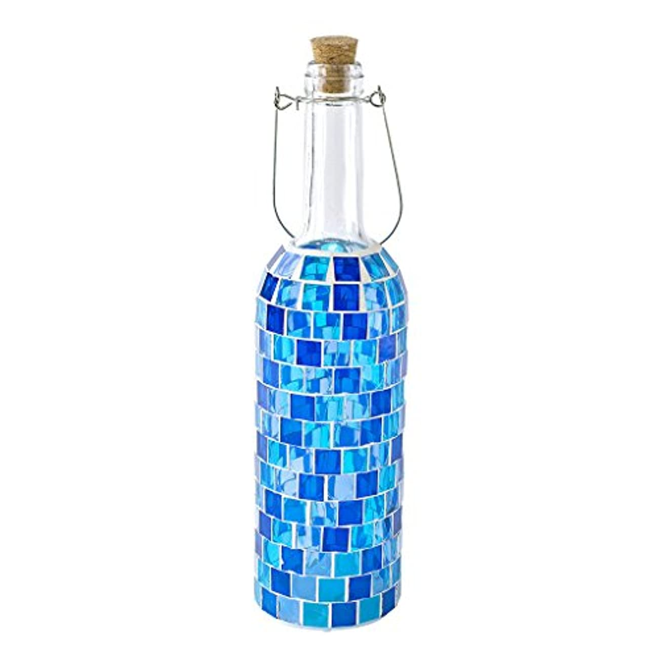 Time Concept LED Mosaic Bottle Lamp - Block Blue - Table Centerpiece, Home Decor, Battery-Operated