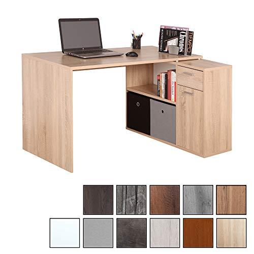 RICOO WM083-ES, Schreibtisch, Holz Eiche Sonoma, Winkelkombination, Arbeitstisch, Bürotisch, Computertisch, Eckschreibtisch, Akten Schrank Lowboard