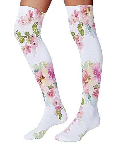 Calcetines de algodón peinados para hombre y mujer, estilo acuarela, bailarina, ratones con rosa en vestidos rosados, Multicolor9, Talla única