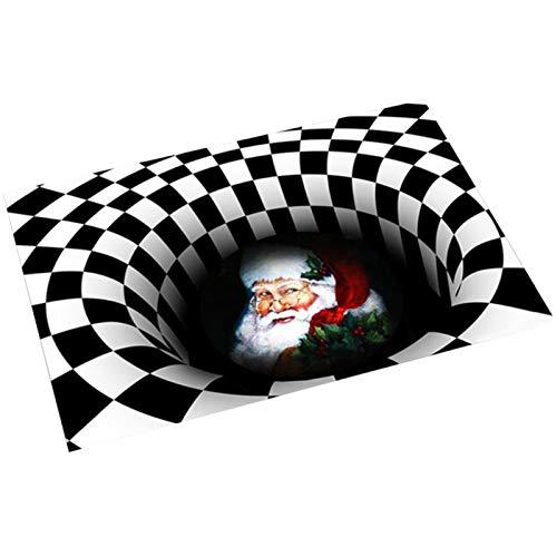 BRAND NEWS Alfombra De Puerta Navideña, Alfombra De Ilusión, Felpudo Navideño Familiar, Felpudo Antideslizante, Cuadrado, Santa, Alfombra Impresa En 3D, Rectángulo