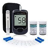 HARPIMER Glucosa en Sangre Kit, Medidor de Glucosa en Sangre, Diabetes Kit de Prueba de azúcar en Sangre Sin codificación con 50 Tiras de Prueba y 50 Lancetas Exactive EQ