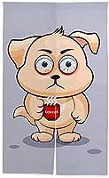 TINZZEROS のれん おしゃれ ーヒーを飲む子犬 漫画 夏涼し トイレ 居間 開運のれん 綿麻 厚手 ホテル 突っ張り棒付き 幅70㎝×丈120㎝