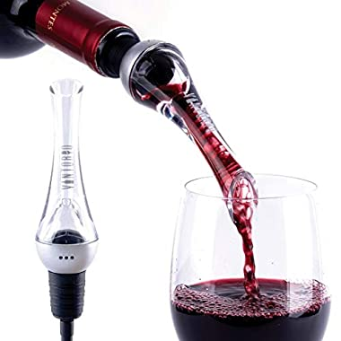 Vintorio Wine Aerator Pourer - Premium Aerating Pourer and Decanter Spout (Silver)