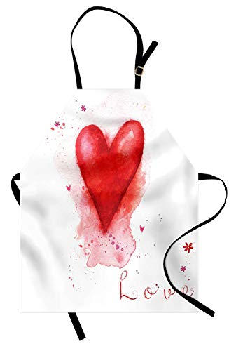 Ambesonne Love Apron, Watercolors Painted Heart Form with Leaking Splash Elements on It Flower Boho Print, Unisex Kitchen Bib with Adjustable Neck for Cooking Gardening, Adult Size, White Red