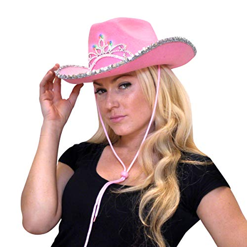 FlashingBlinkyLights Light Up Country Western Pink Cowgirl Hat