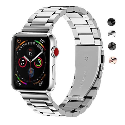 SUNDAREE® Compatible with Apple Watch バンド 38mm&40MM ステンレス、ビジネス風のベルト、アップルウォッチバンド、高品質なステンレススチール製バンド、ステンレス留め金製、for Apple Watch ベルト、全機種対応 for Apple Watch Series5/4/3/2/1(スチール製-銀38&40mm)
