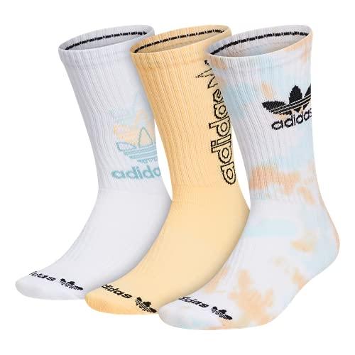 Adidas Originals - Calzini da uomo con imbottitura grafica mista, 3 paia, Uomo, Calzino Crew, Cushioned Crew Socks (3-pair), Acid Orange/Halo Mint Green/White, Large