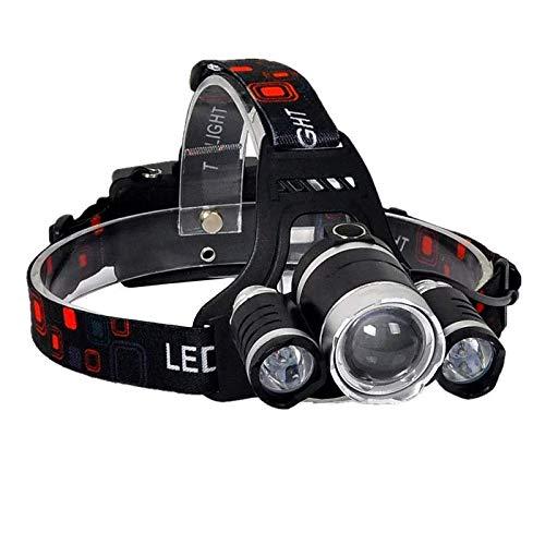 Warsun Torcia frontale TD-497 ricaricabile LED ad alta potenza 1800 lumen, con 4 modalità, autonomia 8H, portata 500 m, impermeabile IPX-44 per casco, pesca, bicicletta, campeggio, caccia e bricolage