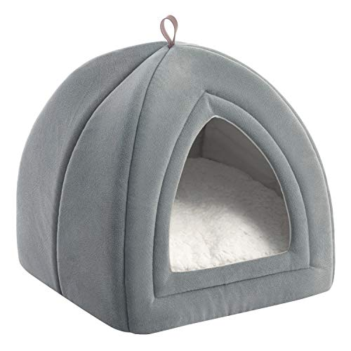Bedsure Pet Tent Cave Bed for Cats/Small Dogs - 15x15x15 inches 2-in-1 Cat Tent/Kitten Bed/Cat Hut with Removable Washable Cushioned Pillow - Microfiber Indoor Outdoor Pet Beds, Light Grey